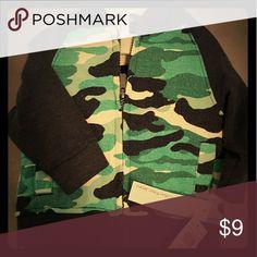 3 Piece set 3 Piece matching baby boy set. Khaki pants, shirt and green camouflage print zip up hoodie Calvin Klein Matching Sets