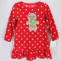 Carters Fleece Nightgown Sz 3T Red White Polka Dot Gingerbread Christmas Pajamas #Carters #Nightgown #Christmas