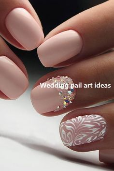 Wedding Nails: Beautiful and Elegant Nail Designs: Weddings are a very special event that allows us all to wear stunning dresses and look pretty. Nails are no exception. Natural Wedding Nails, Simple Wedding Nails, Wedding Manicure, Wedding Nails Design, Trendy Wedding, Summer Wedding, Pink Wedding Nails, Simple Nails, Perfect Wedding