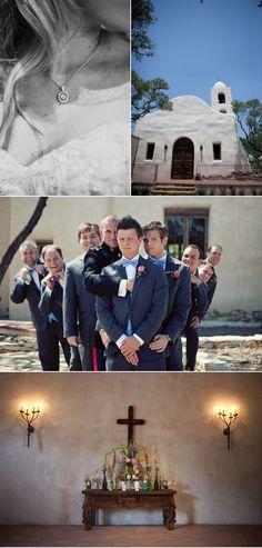 Groomsmen photo and Spanish style mission wedding venue