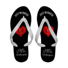 Mr and Mrs Just Married Wedding Flip Flops