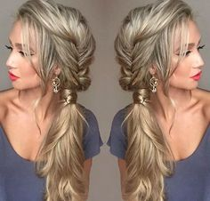 Messy Fishtail Braid into a Side Ponytail hairstyles long 21 Pretty Side-Swept Hairstyles for Prom Messy Fishtail Braids, Side Braid Ponytail, Side Ponytails, Side Ponytail Wedding, Low Chignon, Side Swept Updo, Messy Side Braids, Braid To The Side, Braided Updo