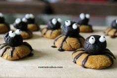 Raw vegan Spider Cookies Healthy Halloween, Halloween Treats, Spider Cookies, Raw Cake, Raw Vegan, Muffin, Pumpkin, Breakfast, Desserts