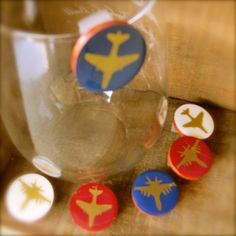 Aviation Wine Charms Aviation Glass Tags by SunflowerBlueDesigns