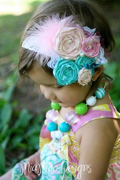 Matilda Jane Aqua and Pink swirl springy shabby headband by CozetteCouture