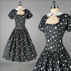 Vintage 1950s Dress . Black . Polka Dots . by millstreetvintage
