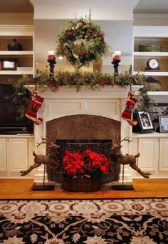 Mantel--how can this be adapted for our mantel and fireplace?  And we use stockings for people and critters--cannot do without those stockings. Mayber we could only put them up on Crhistams Eve???