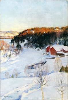 Iltatunnelma, 1896 by Pekka Halonen on Curiator, the world's biggest collaborative art collection. Painting Snow, Winter Painting, Winter Art, Light Painting, Nordic Art, Scandinavian Art, Helene Schjerfbeck, Snow Art, Canadian Art