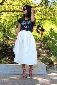 Almost Ladylike - Shirt: Zoe Karssen; Skirt: Tibi; Shoes: Tabitha Simmons (similar style here); Sunglasses: Elizabeth & James; Necklaces: Jennifer Zeuner (here and here); Clutch: Celine  Photos by Lindsey Louie