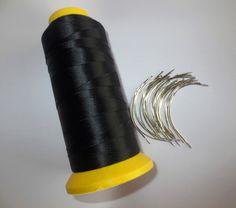 24 unids C aguja con el regalo 1 UNID Negro extensión del pelo de hilo de Coser hilo de Poliéster hilo de coser