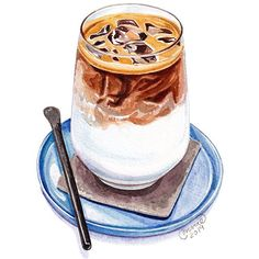 Dessert Illustration, Coffee Illustration, Cake Drawing, Food Drawing, Cute Food Art, Cute Art, Coffee Drawing, Coffee Art, Food Art Painting