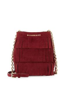 Baby Bucket Fringed Suede Bag, Cherry by Burberry at Neiman Marcus. Burberry  Handbags, 99e5a2d7aa