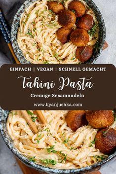 Vegan Noodles Recipes, Vegan Dinners, Vegetarian Recipes, Cooking Recipes, Tahini Pasta, Vegan Pasta, Quick Recipes, Easy Healthy Recipes, Going Vegan