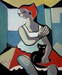 """""""Mulher com gato"""" de Di Cavalcanti."""
