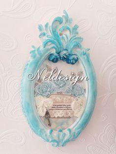 Shabby chic scented clay frame. Vintage tarz eski püskü kokulutaş çerçeve
