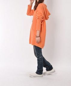 Orange cotton sweater women sweater dress knitwear vintage knitted sweater loose sweater maternity dress plus size sweater lml1099-1 on Etsy, $58.82