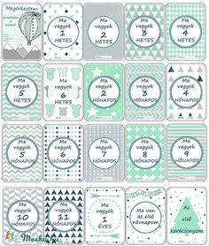 Milestone cards - mint and gray - Baba fotó kártya - menta és szürke - mini csomag (20 db), Baba-mama-gyerek, Baba-mama kellék, Meska
