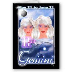 Gemini Zodiac birthday card by valxart for $3.10 is one of 720  designs for 60 years of Chinese zodiac combined with 12 zodiac designs and forecast each used on several products . Valxart has designs on 12 zodiac cusp and 60 years of chinese zodiac. If you do not see desired year and zodiac sign contact info@valx.us for links to desired images.