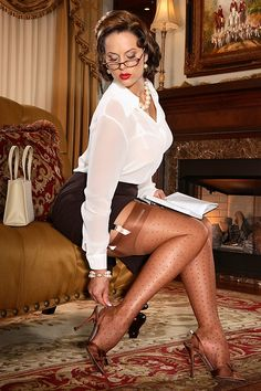 Two of my favorite things paired together, sling-backs with stockings and garters.  Secrets In Lace  classic dot pattern RHT stockings.