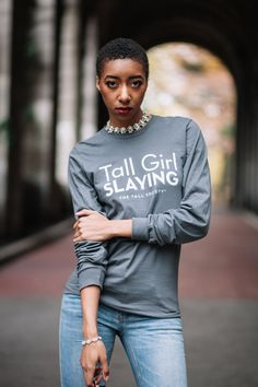 Tall Girl SLAYING! Did you know we have a ton of merchandise for you to rep our #TallTribe with? Over 25 different 'sayings' to tell the world that TALL GIRLS ROCK!   Shop now on TheTallSociety.com/shop and support our community while you're at it. We appreciate you! X