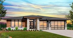 Beautiful One Story Modern Casita House Plan with zoned bedrooms and 12 foot ceilings at the main living area. Multi-generational design and maximum use of space. Modern Prairie Home, Prairie House, Prairie Style Houses, Garage House Plans, House Plans One Story, Country House Plans, Build House, Story House, Contemporary House Plans