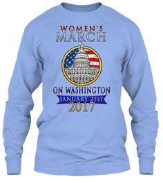 Women's March On Washington 2017 Shirts Light Blue Long Sleeve T-Shirt Front