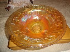 Carnival Glass Bowl 12 inches across top of bowl, Approx 5 inches tall