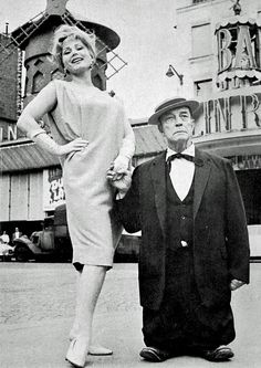 Zsa Zsa Gabor and Buster Keaton at the Moulin Rouge, Paris, 1959
