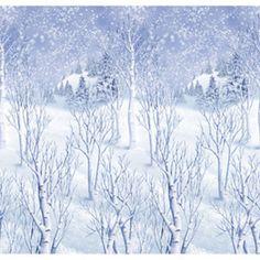 Scenesetter sneeuwlandschap -  Toch nog een witte kerst! Een gigantische plastic poster van 12.2 meter breed bedrukt met een sneeuwlandschap. Afmeting: 1.22m x 12.2m. Om ergens op te hangen tijdens een sneeuwfeest. Perfect te combineren met andere scenesetters!   www.feestartikelen.nl