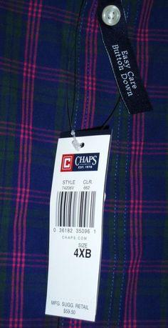 NWT BIG MENS CHAPS PURPLE GREEN BLUE PLAID LS DRESS BUTTON DOWN SHIRT 4XB  #Chaps #Dressshirt