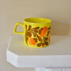 Zingy Yellow Retro Staffordshire Pottery Mug by continentalretro