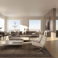 Living Room of the 432 Park Avenue Penthouse, New York Manhattan Penthouse, New York Penthouse, Luxury Penthouse, Luxury Apartments, Luxury Hotels, Penthouse Suite, Manhattan Apartment, New York Apartment Luxury, New York Apartments