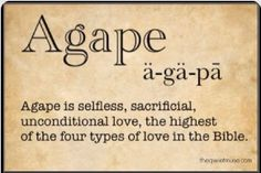 Agápē one of the four types of love in the Bible and the highest form of love. A love that a Father gave up His son's life for many. And a man, a son of that Father that gave up his life for many. That many are the ones they love - that is - you and I.