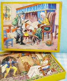 Oude houten puzzel roodkapje - Vintage Jigsaw   Oud speelgoed / Vintage toys   Mies & Mas Vintage Toys & Kitchenware