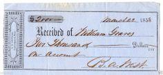 Original 1858 Reciept from William Graves to L.S. Leonard Cambridgeport, Mass.