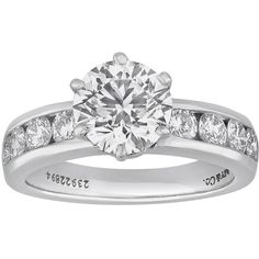 Preowned Tiffany & Co. 1.71 Carat F If Diamond Platinum Engagement... ($41,000) ❤ liked on Polyvore featuring jewelry, rings, accessories, wedding, multiple, platinum jewelry, pre owned diamond rings, pre owned engagement rings, platinum diamond rings and diamond wedding rings