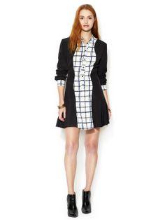 Contrast flutter-shirt dress