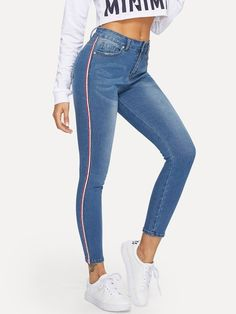 To find out about the Contrast Striped Side Bleach Wash Jeans at SHEIN, part of our latest Jeans ready to shop online today! Cute Ripped Jeans, Ripped Jeggings, Camouflage Jeans, Latest Jeans, Cute Pants, Trendy Swimwear, High Waist Jeans, Boyfriend Jeans, Jogging