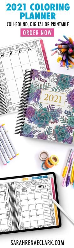 A unique planner for creative minds. Bring creativity to your everyday life with the 2021 Coloring Planner! It comes in 3 formats: a coil-bound planner, a printable planner or a digital planner (for the iPad). Find out more at sarahrenaeclark.com/coloring-planner #planner #coloringplanner #2021planner