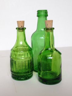 Vintage Green Glass Bitters Bottles Miniature by ShaginyAndTil $18