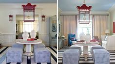 Touches of red in a blue room.  Richmond Designer Showhouse | Tobi Fairley & Associates