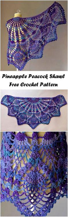 Pineapple Peacock Shawl Free Pattern