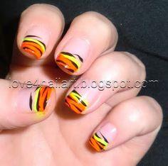 Neon Tiger Stripes ~ Love4NailArt http://love4nailart.blogspot.com/2011/08/neon-tiger-stripes.html