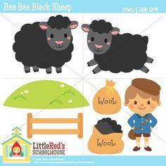 Clip Art - Baa Baa Black Sheep - Nursery Rhyme Clipart $