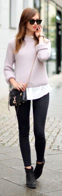 street style pink knit @wachabuy