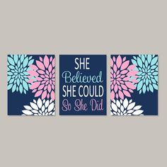 >>>Cheap Sale OFF! >>>Visit>> Teen Girl Room Decor Floral Wall Decor Pink Navy Wall Art Prints Or Canvas Girl Bedroom Art College Dorm Decor Inspirational Set of 3 Blue Teen Girl Bedroom, Bedroom Decor For Teen Girls, Teen Girl Bedrooms, Girl Rooms, Trendy Bedroom, College Dorm Canvas, Dorm Canvas Art, Mural Floral, Floral Wall
