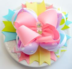 Large Easter Hair Bow for Girls  Boutique Spring by SheWearsitWell, $16.50