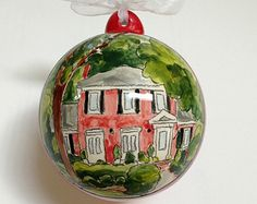 Custom House Portrait  Inch Tile Housewarming Hostess Wedding Gift Keepsake From Your Photo By C Custom Christmas Ornaments