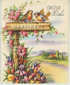 VINTAGE RAINBOW COLORED BIRDS GARDEN FLOWERS ROSES IRIS EASTER CARD ART PRINT in Collectibles, Paper, Other Paper Collectibles | eBay