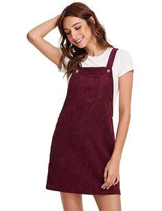 Romwe Women's Straps A-Line Corduroy Pinafore Bib Pocket Overall Dress Burgundy XS at Amazon Women's Clothing store: